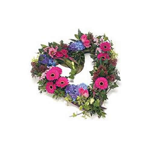 Mixed Flower Open Heart Funeral Wreath | Funeral Flowers