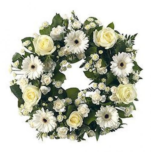 White Classic Wreath | Funeral Flowers